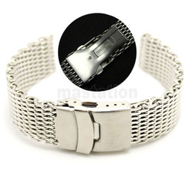 Wholesale Watch Cord Bracelet - clasps for leather cord 20mm Band Width Stainless Steel Mesh Web Watch Band Strap Bracelet Men Women Fold over clasp with safety