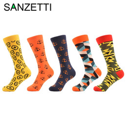 Wholesale Wholesale Mens Tube Socks - Wholesale- SANZETTI 5 pairs lot Cotton Fashion Funny Mens Socks Color Colorful Socks Man Casual In Tube Male Novelty Socks Wedding Gift