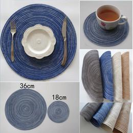 Runde Weben Baumwolle Tischset Rutschfeste Hitzebeständige Topf Tischsets Halter Coaster Kissen Tischset Topf Tischset Geschirr 36 cm 18 cm von Fabrikanten