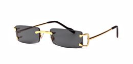 Wholesale buffalo logos - Free ship rimless Luxury brand buffalo sunglasses retro vintage men brand designer shiny gold frame leopard logo women top quality with box