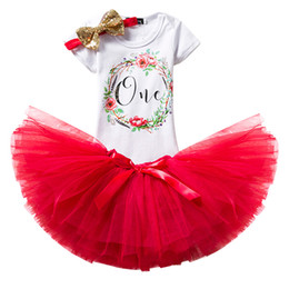 Wholesale Girls Dressess - 1 Year Baby Girl Tutu Dress Fluffy Baby Party Dressess Headband Toddler 1st Birthday Photo Shoot Costume Summer Kids Clothes One