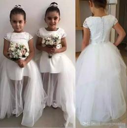 2019 jupes de robe de bal basse Enfants en bas âge charmant enfants filles de fleur robes blanc pur une ligne ras du cou à manches courtes appliques longues formelle robe première communion robes