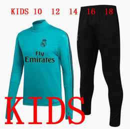 Wholesale Black Children Tracksuits - Kids Real Madrid Tracksuit Long Sleeve Jogging Boys Soccer kit Football Suit Youth Sport Wear Children 17 18 Ronaldo training SUIT