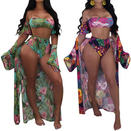 Biquini mais on-line-Mulheres 2018 one piece maiô sexy beach wear bikinis set swimwear plus size sling maiô + manga longa praia cover sarong