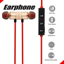 Wholesale Mp3 Roses - Magnetic Design Earphones Bluetooth Headphone Wireless Headset With Mic MP3 Earbud Bass Stereo Music For iPhone 6 7 8 X With Retail Package