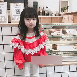 Wholesale Sexy Child Clothing - New Fashion Girl Spring Shirt Child Clothes Kids Clothing 2018 lace Long Sleeve Sexy T Shirt Girls Tops Children T-Shirts Red Blue A8820