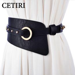 17f96f3897f Plus la taille large ceinture élastique femmes ceinture en métal doré rivet  ceintures pour robe manteau veste ceinture ceinture bandes bayan kemer 80  cm ...
