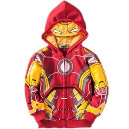 Roupa de aranha on-line-Vingadores Casacos Casacos Meninos Homem De Ferro Thor Hulk Homem Aranha Do Bebê Meninos Roupas Traje Crianças Jaquetas Com Capuz Criança Top Tees Camisetas