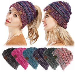Wholesale crochet skull caps - Fashion CC Ponytail Beanies Hat Women Crochet Knit Cap Autumn Winter Skullies Beanies Warm Caps Knitted Hats For Ladies KKA5583