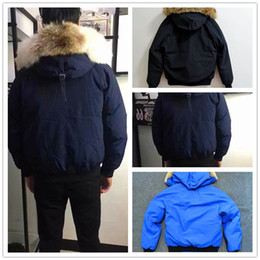 Wholesale men down jacket canada - Winter Down Parkas Hoody Canada Bomber Jackets Zippers Brand Designer Jacket Men Chilliwackbomber Warm Coat Outdoor Parka Green Online
