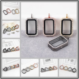 Wholesale gold 13 pendant - New 13 Designs 30mm Rhinestones Glass Floating Locket Pendants Alloy Magnetic Memory Glass Frames DIY Jewelry Necklace