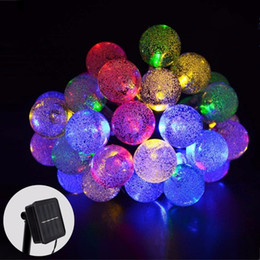 Wholesale outdoor festival string lights - 30 LED Crystal Ball Solar Powered String Lights LED Fairy Light 8 Working mode for Wedding Christmas Party Festival Outdoor Decoration