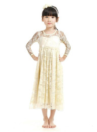 Wholesale Kids Wholesale Maxi Dress - New Girl Lace Maxi Dress Full Length Kids Soft Cute Wedding Dress Boutique Girl Clothing Flower Dress with Bow Custom-made Clothes B11