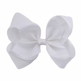 Wholesale paris wholesale accessories - 8 Inches Large Solid Grosgrain Ribbon Hair Bow Boutique Dancing French Clip Paris White Bows For Women Girls Hair Accessories