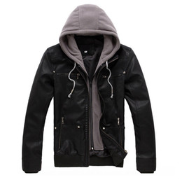 Wholesale Biker Hats - Wholesale- Hooded Male Leather Jacket Motorcycle Zipper Cardigans Biker Suede Jackets Men Pu Mens Coat Slim Fit Hood Winter Spring Fashion