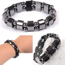 Wholesale magnetic healing - Fashion Black Magnetic Hematite Healing Mens Womens Loose Beads Bracelet