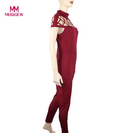 Wholesale Womens Jumpsuits New Arrivals - 2018 new arrival fashion Womens Choker High Neck Caged Sleeve Playsuits Long Jumpsuits Rompers combinaisons pour monos para
