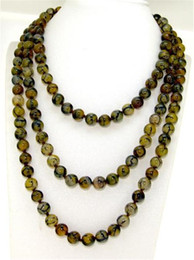 Wholesale Dragon Vein Agates - 35 Inches Yellow Veins Dragon Agate Necklace 8mm Round Beads GEMSTONE Strand