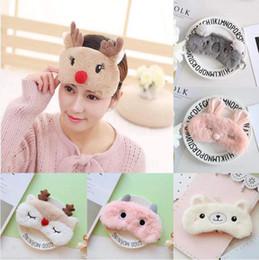 Wholesale cute sleeping masks - 1pc Cute Cartoon Animals Sleeping Eye Mask Plush Animals Travel Sleeping Blindfold Cute Eyepatch Shield Eye