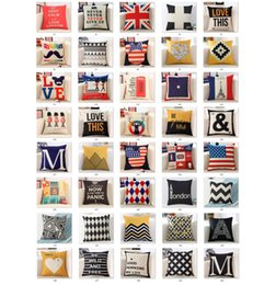 Wholesale patchwork cushion covers - 40 styles Pillowcase linen material cushion cover decorative pillow case sofa seat car pillow cover soft