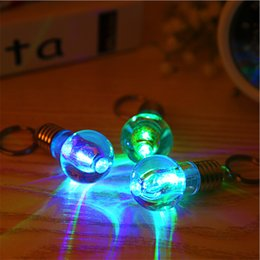 Wholesale Men Flashlight - LED Bulb Keychain LED Light Keychains Torch Key Ring Colorful Flashlight Rainbow Color Key Chain Bulb Men Wrestling Not Broken Bulb