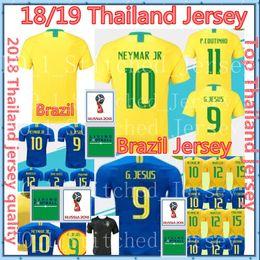 Wholesale Neymar Brazil Soccer - Thailand 2018 Brazil World Cup soccer jersey NEYMAR JR G JESUS COUTINHO PAULINHO MARCELO 2019 Brasil home man WOMEN Training football shirt