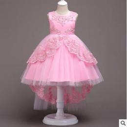 mini vestido del hotsale Rebajas Vestido de fiesta bordado del banquete de boda del cordón de la muchacha de flor del verano del bebé de los cabritos del cordón de la perla de Tulle de la princesa del vestido de noche de la fiesta de cumpleaños de la princesa