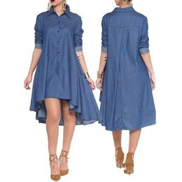 9e32ca2a65 2018 Hot Sale Autumn Casual Uropean And American Style Women Knee-Length  Lapel Collar Pocket Denim Shirt Asymmetrical Dress