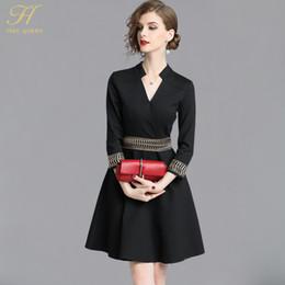 96445f0ef60e H Han Queen 2018 Autunno nero abito da lavoro donna Vintage ricamo moda  elegante abiti casual scollo a V abiti da festa v abiti da lavoro di collo  offerte