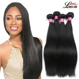 Wholesale Cheap 28 Inch Hair - Unprocessed Peruvian Hair Straight Bundles Peruvian Straight Virgin Human Hair Weave Natural Color Double Weft Cheap Peruvian Hair 3 Bundles
