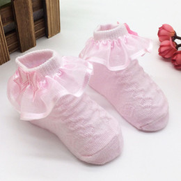 Discount toddler ankle socks - Hot selling Newborn Infant summer solid Lace Princess Socks Non-Slip soft Cotton Toddler thin breathable short ankle sock