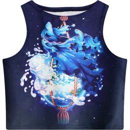 Tanque azul de impresión online-Women Crop Top 2018 Summer New Fish Water Flower Pattern Printed Slim Fit Tank Casual Style Skinny Vest for Girl Short Cami Blue