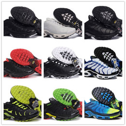 Wholesale glitter shoes for cheap - 2018 NEW Vapormax TN Plus Black White Blue Green Running Shoes For Classic Air Tn Men Sneakers Cheap Basket Tn Requin Chaussures