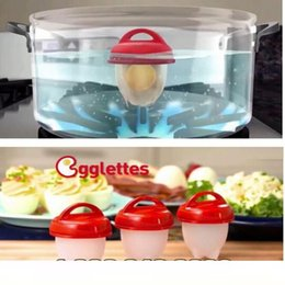 Wholesale Hard Boiled - Egglettes Maker Egg Cooker Silicone egg boil Hard Boiled Eggs without the Shell Eggies 6pc set 10set wn432
