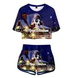 Сексуальные рождественские рубашки женские онлайн-Рождество 3D Two Piece Set лето Sexy хлопок печатных Kawaii футболки женщины костюм шорты растениеводство мода топы + шорты 2018