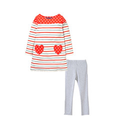 Wholesale Tight T Shirt Dresses - Kids Girl Suit Set Striped Long Dress T-Shirt With Heart-Shaped Pocket Grey Long Legging Tights Pants