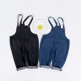 Wholesale harem pants for baby girls - Children Clothing 2018 jeans for boys Cotton Demin Baby Clothes Cowboy Straps Harem Pants Belt Jeans girls kids trousers