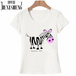 edbb0bae207 Camiseta de mujer Verano 2017 Mujeres coreanas Camiseta de algodón Moda de manga  corta con cuello en O Tops Kawaii Raya linda Impresión del burro camiseta  ...