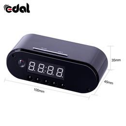 Caméscope ip en Ligne-EDAL 1080P H.264 Horloge de table caméra Alarme Set Mini caméra IR Vision nocturne Wifi Horloge IP Caméra Mini DV DVR Caméscope Wifi Webcam