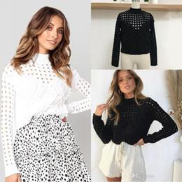 6906192d4 Sólido Preto Branco Outono Inverno Mulheres Moda Blusas de Manga Comprida  Casual Pull Over Camisolas FS5848 camisola sobre barato