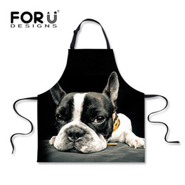 Wholesale Chef Prints - Forudesigns Funny Black Kitchen Aprons Cute Printed Animal Dog Cat Cooking Apron For Men Women Novelty Chef Cafe Work Aprons