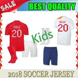 Wholesale Cotton Football Socks - 2018 WORLD CUP soccer jerseyS england ROONEY STERLING VARDY Kids KANE DELE KIT SHORTS SOCKS JERSEY HOME AWAY RED SHIRT football SHIRTS