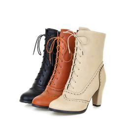 botas de estilo británico Rebajas Botas Oxford de estilo británico Brogue de tacón alto con cordones