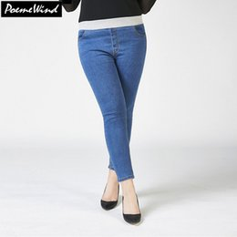 Wholesale Plus Size High Waisted Pants - Wholesale-PoemeWind 28-40 Plus Size Elastic Waist Denim Jeans Women Autumn Slim Pencil Pants 2017 Casual High Waisted Jeans For Women 5XL
