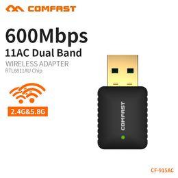 Adattatori wifi di linux online-Adattatore wifi Comfast 600 Mbps dual-band 5.8 GHz Adattatore USB Wireless WIFI Dongle Ricevitore Wi Fi per MAC / LINUX / Windows CF-915AC
