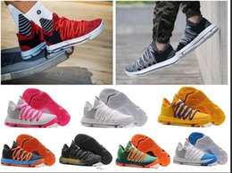 Wholesale Kd Shoes Kids - Kids KD 10 Basketball shoes Hot Sale FMVP Signature Shoes Classic 9 Style Kevin Durant Sneaker Free Shipping&With Box