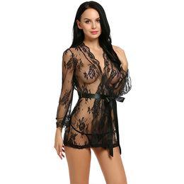 Roben sex online-Sex Dessous Robe Kleid Frauen Dessous Sexy Hot Erotic Plus Size Nachtwäsche Sex Kostüme Kimono Bademantel Morgenmantel