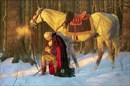 2019 marcos digitales rosa George Washington, Oración en Valley Forge Pintado a mano Impresión HD Guerra Arte militar Pintura al óleo sobre lienzo, Múltiples tamaños / Opciones de marco p297