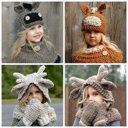Wholesale kids winter animal hats - 4 Styles Kids Elk Animal Knitted Hood Beanies Golves Set Winter Kids Warm Donkey Hats Scarf Set Party Gifts CCA8752 10set