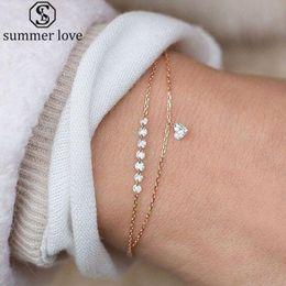 Encantos de pulseiras finas on-line-Moda Prata Dupla Camada De Cristal Austríaco Coração Charme Pulseiras Para As Mulheres de Cadeia Fina Pulseira Bangles Presente Da Menina Jóias